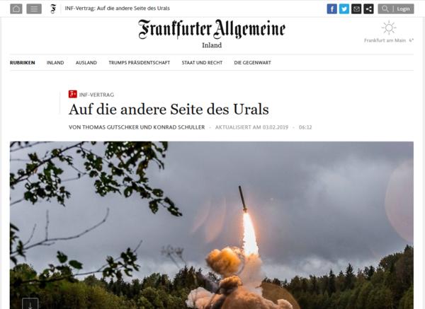 «Ракеты надо разместить за Уралом, подальше от Европы»: Германия предложила Москве способ сохранить договор о РСМД.
