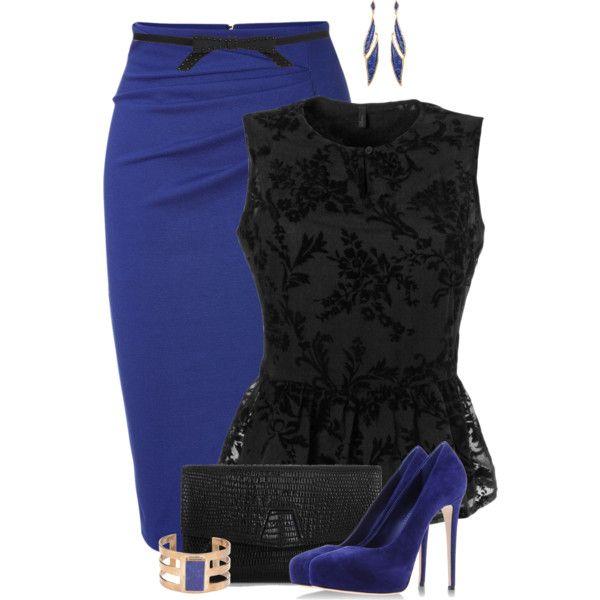 Синяя юбка с кружевной блузкой