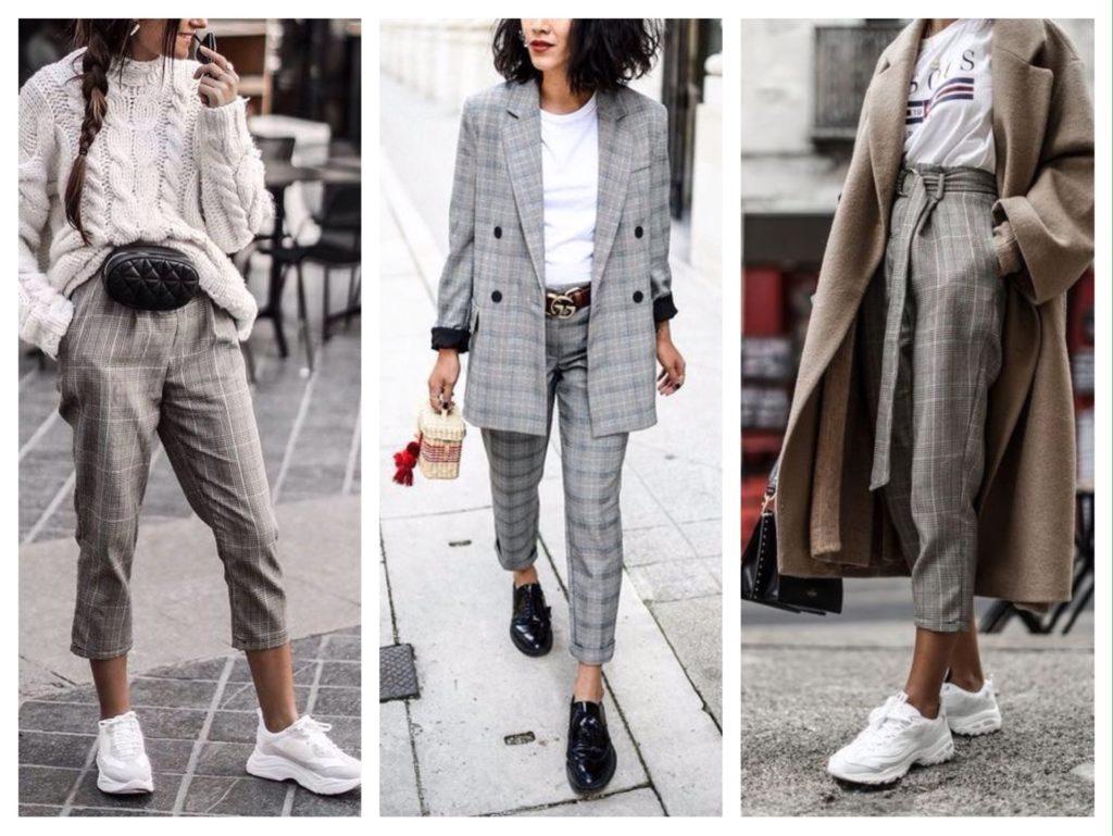 клетчатые укороченные брюки