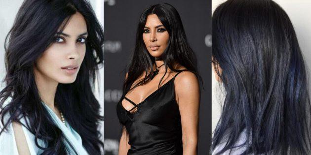 Модные цвета волос 2019года: чернильно-чёрный