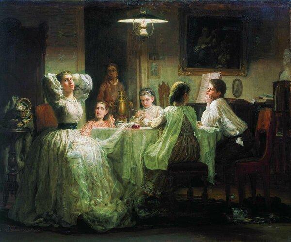 Шитье приданого. 1866. Третьяковская галерея