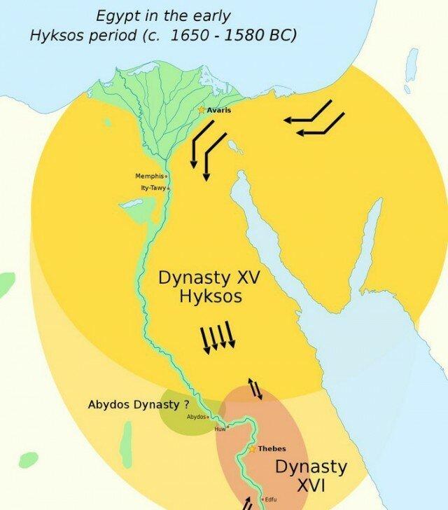 Карта древнего Египта эпохи второго промежуточного периода археология, древний египет, интересно, история, наука