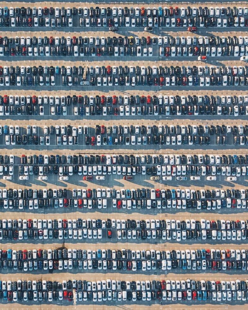 4. Вид на парковку в Китае сверху parking, авто, дебилизм, машины, парковка, смешно, ужасная парковка, фото