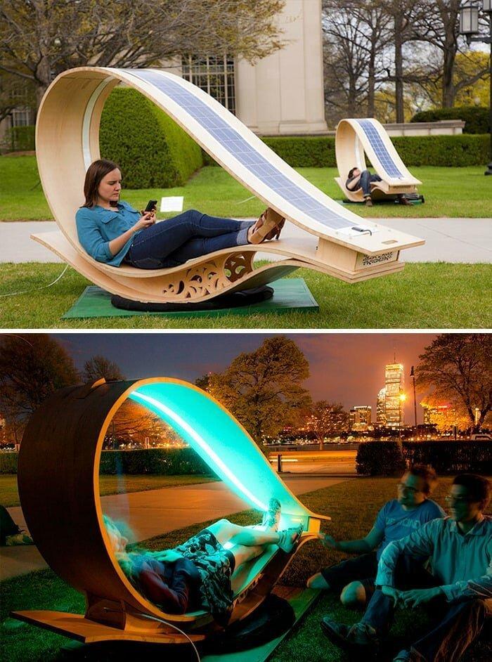 Необычная скамейка в парке, Массачусетс в мире, в парке, красота, креатив, лавочка, скамейка, удобство, фантазия