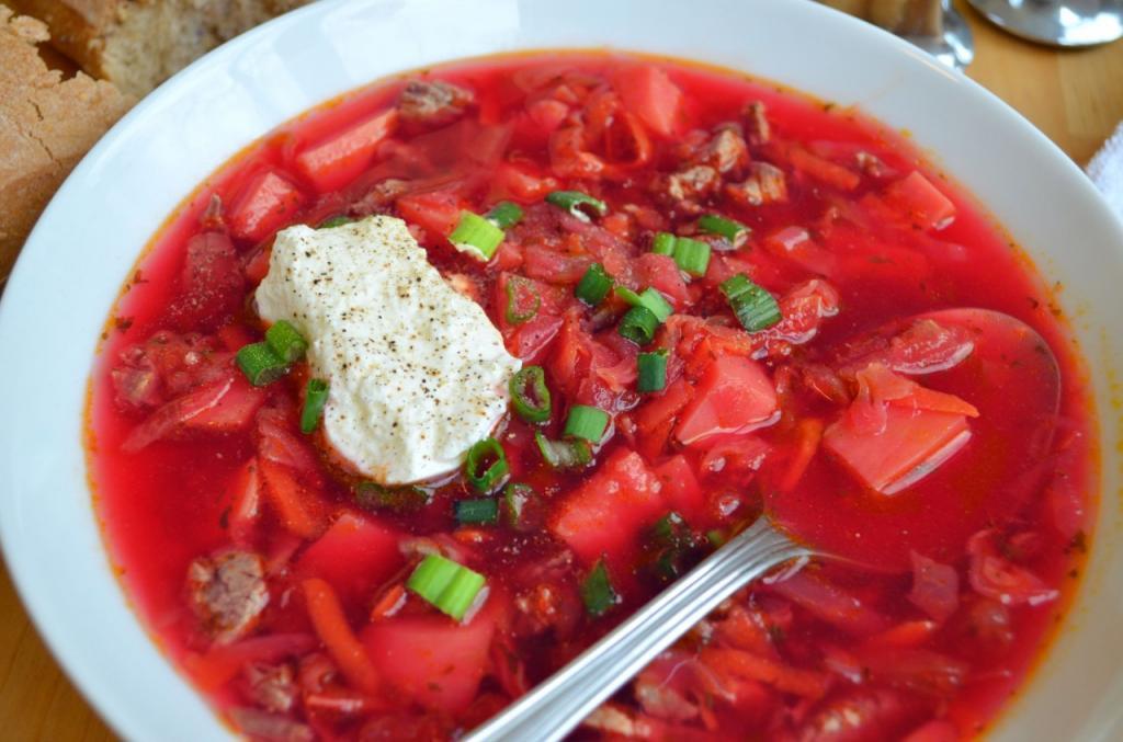 Борщ с фасолью с мясом: рецепт с фото