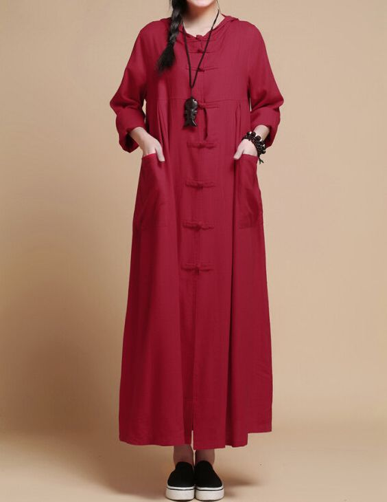 autumn Loose fitting Long Maxi dress linen Hooded long by MaLieb: