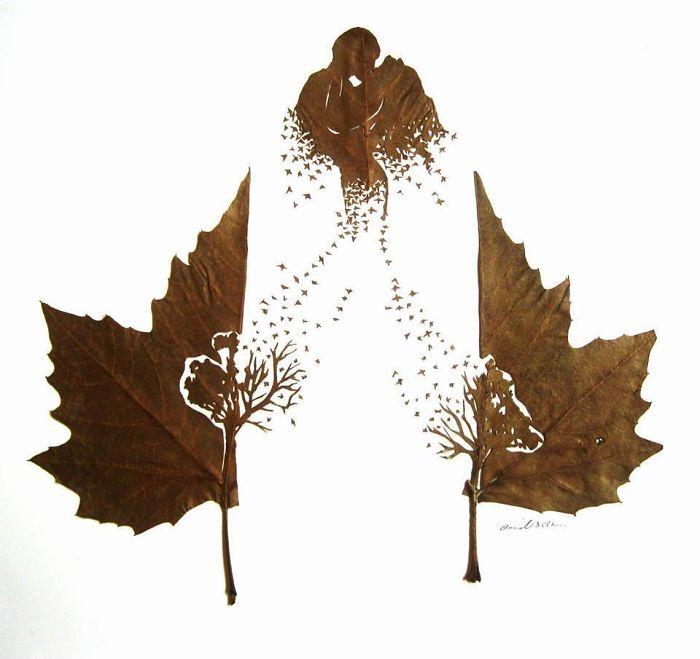 Омид Асиди: резьба на опавших листьях