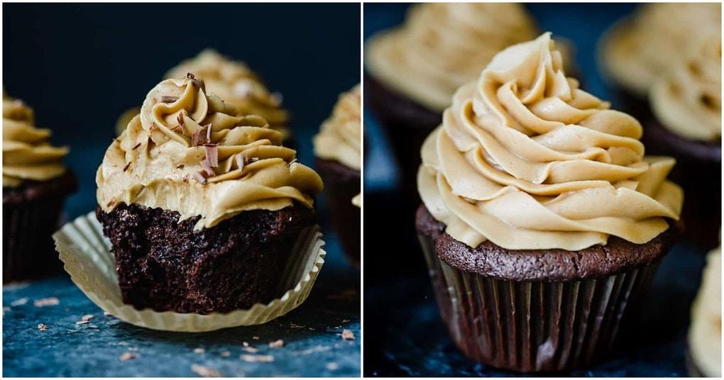 Два шедевра в одном десерте: шоколадные капкейки с арахисовым кремом
