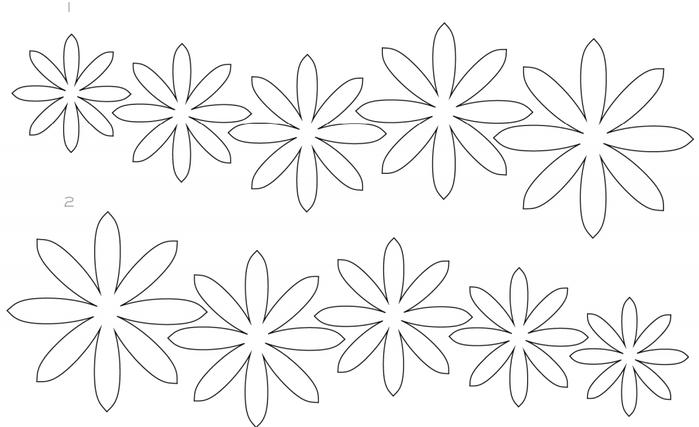 Шаблоны объемных цветов для вырезания из бумаги распечатать